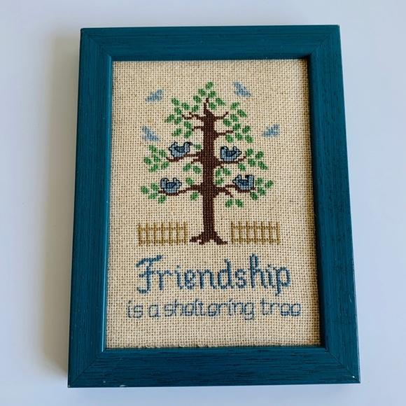 Vintage Friendship Cross Stitch Wall Hanging